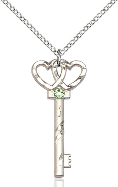 Small Key with Double Heart Pendant and Birthstone - Peridot