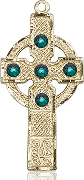 Tall Celtic Cross Pendant with Birthstone Options - 14K Solid Gold
