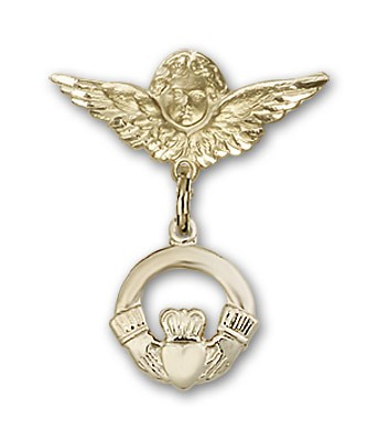 Pin Badge with Claddagh Charm and Angel with Smaller Wings Badge Pin - 14K Solid Gold