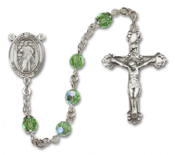 Divine Mercy Sterling Silver Heirloom Rosary Fancy Crucifix - Peridot