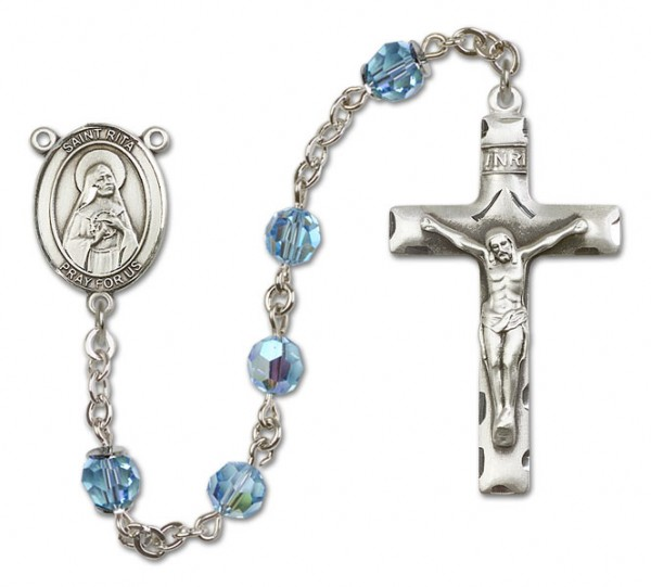 St. Rita of Cascia Sterling Silver Heirloom Rosary Squared Crucifix - Aqua
