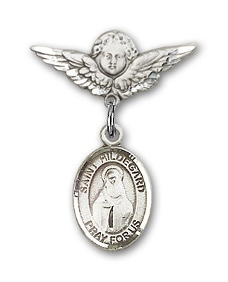 Pin Badge with St. Hildegard Von Bingen Charm and Angel with Smaller Wings Badge Pin - Silver tone