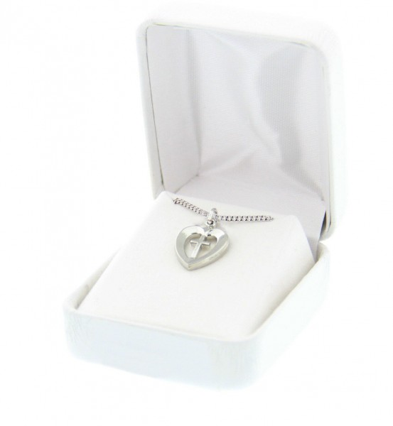 Heart and Cross Pendant - Rhodium Plated - Silver