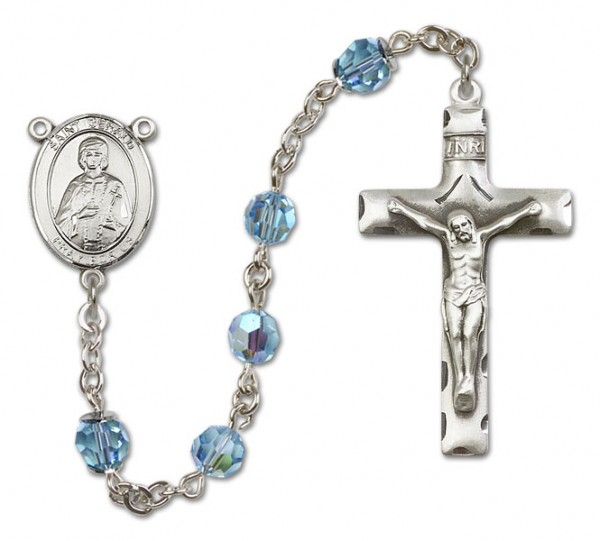 St. Gerard Sterling Silver Heirloom Rosary Squared Crucifix - Aqua