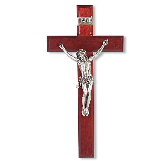 Dark Cherry Wall Crucifix with Pewter Corpus - 12 inch - Cherry Wood
