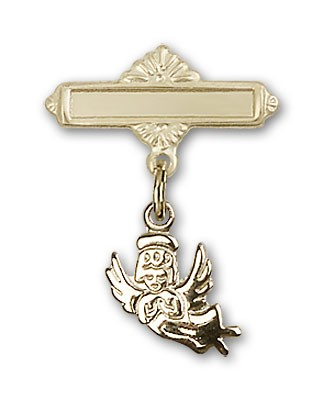 Baby Pin with Guardian Angel Charm and Polished Engravable Badge Pin - 14K Solid Gold