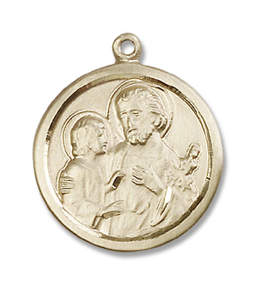 Women's St. Joseph Pendant with Hand Etched Border - 14K Solid Gold