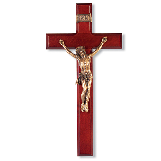 Dark Cherry Wall Crucifix with Traditional Corpus - 12 inch - Brown