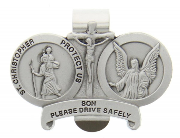 St. Christopher & Guardian Angel Protect My Son Visor Clip Pewter - Silver