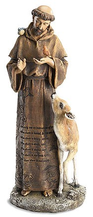 St. Francis Statue with Animals 12 inches - Full Color