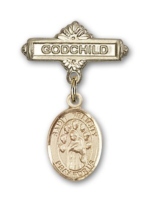 Pin Badge with St. Felicity Charm and Godchild Badge Pin - Gold Tone