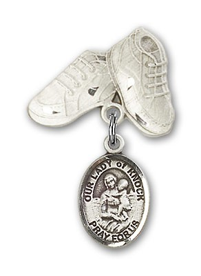 Baby Badge with Our Lady of Knock Charm and Baby Boots Pin - Silver tone