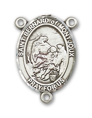 St. Bernard of Montjoux Rosary Centerpiece Sterling Silver or Pewter - Sterling Silver