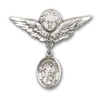 Pin Badge with Guardian Angel Charm and Angel with Larger Wings Badge Pin - Silver tone