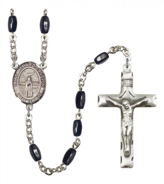 Men's St. Medard of Noyon Silver Plated Rosary - Black | Silver