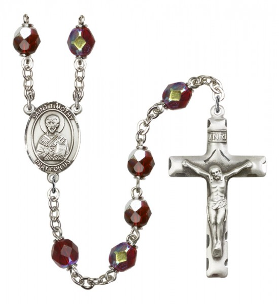 Men's St. Timothy Silver Plated Rosary - Garnet