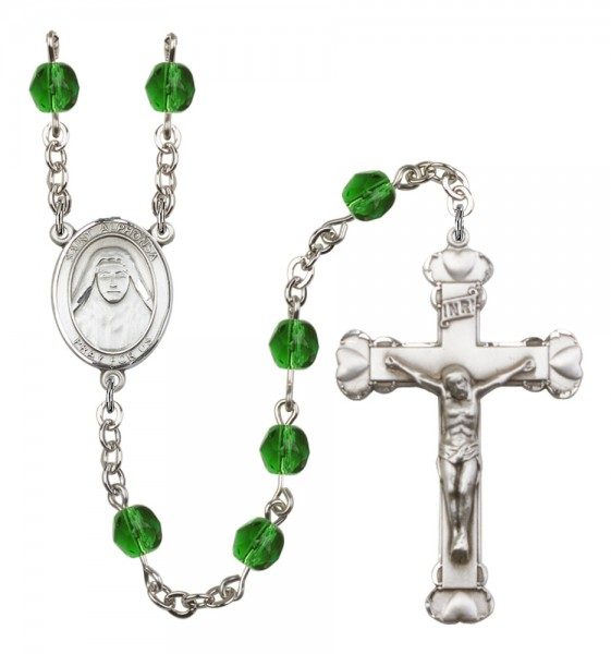 Women's St. Alphonsa of India Birthstone Rosary - Emerald Green