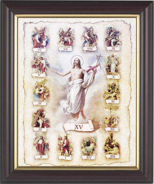 Stations of the Cross Illustrated Framed Print - #133 Frame