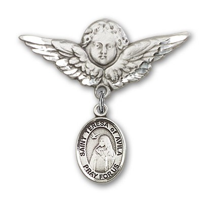 Pin Badge with St. Teresa of Avila Charm and Angel with Larger Wings Badge Pin - Silver tone