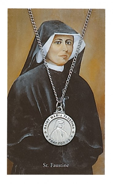 Round St. Maria Faustina Medal with Prayer Card - Silver tone