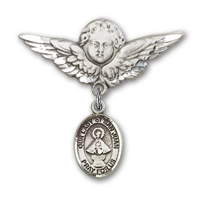 Pin Badge with Our Lady of San Juan Charm and Angel with Larger Wings Badge Pin - Silver tone