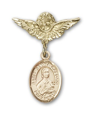 Pin Badge with St. Gemma Galgani Charm and Angel with Smaller Wings Badge Pin - Gold Tone