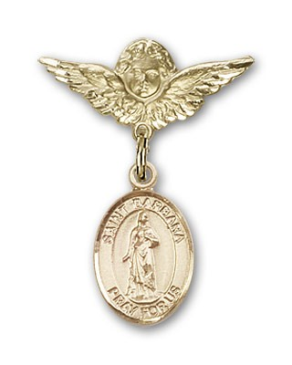 Pin Badge with St. Barbara Charm and Angel with Smaller Wings Badge Pin - 14K Solid Gold