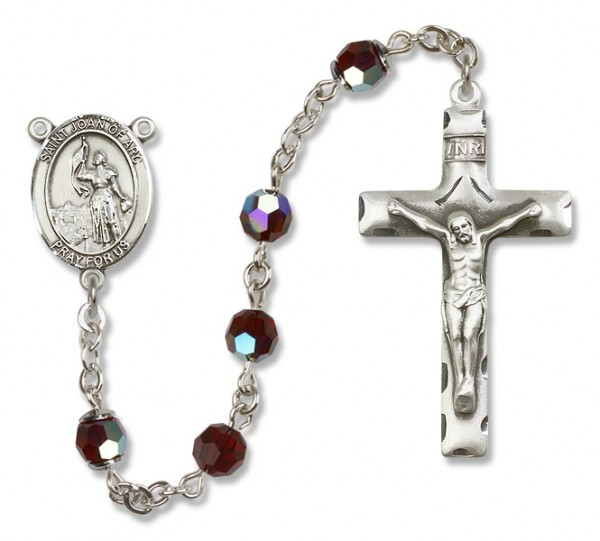 St. Joan of Arc Sterling Silver Heirloom Rosary Squared Crucifix - Garnet