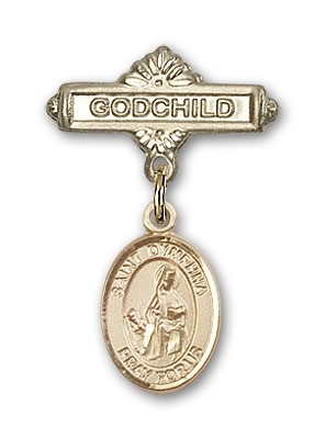 Pin Badge with St. Dymphna Charm and Godchild Badge Pin - 14K Yellow Gold