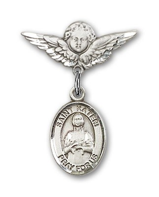 Pin Badge with St. Kateri Charm and Angel with Smaller Wings Badge Pin - Silver tone