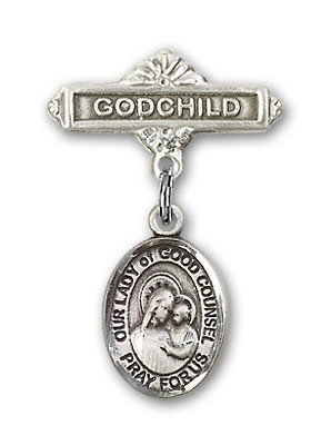 Baby Badge with Our Lady of Good Counsel Charm and Godchild Badge Pin - Silver tone