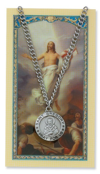 Round St. Gregory The Great Medal with Prayer Card - Silver tone