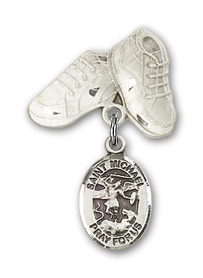 Pin Badge with St. Michael the Archangel Charm and Baby Boots Pin - Silver tone