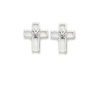 Cross Shaped Earrings with Crystal Center - Silver