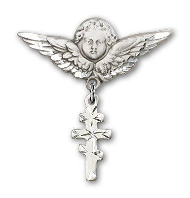 Pin Badge with Greek Orthadox Cross Charm and Angel with Larger Wings Badge Pin - Silver tone