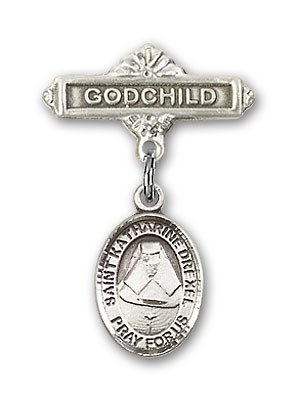 Pin Badge with St. Katherine Drexel Charm and Godchild Badge Pin - Silver tone