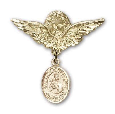 Pin Badge with Our Lady of Mount Carmel Charm and Angel with Larger Wings Badge Pin - 14K Solid Gold