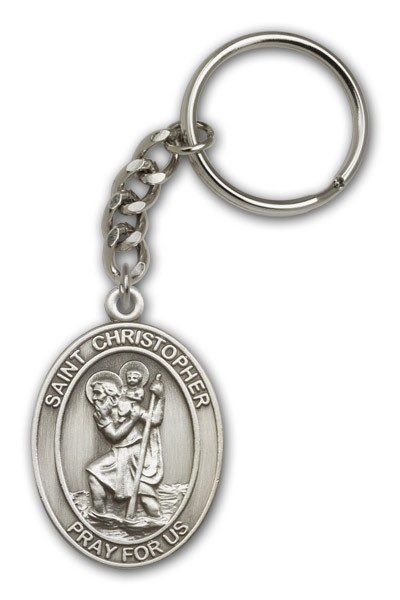 St. Christopher Keychain - Antique Silver