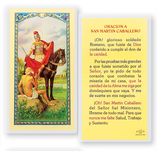Oracion A San Martin Caballero Laminated Spanish Prayer Cards 25 Pack - Full Color