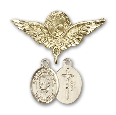 Pin Badge with Pope Benedict XVI Charm and Angel with Larger Wings Badge Pin - 14K Solid Gold