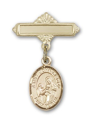 Pin Badge with St. John of God Charm and Polished Engravable Badge Pin - Gold Tone