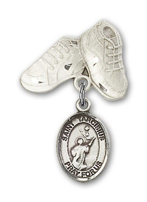 Pin Badge with St. Tarcisius Charm and Baby Boots Pin - Silver tone
