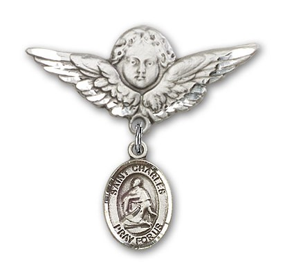 Pin Badge with St. Charles Borromeo Charm and Angel with Larger Wings Badge Pin - Silver tone
