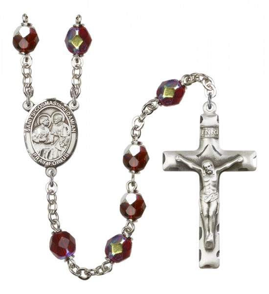 Men's Sts. Cosmas & Damian Silver Plated Rosary - Garnet
