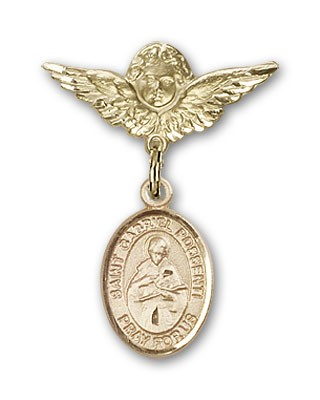 Pin Badge with St. Gabriel Possenti Charm and Angel with Smaller Wings Badge Pin - 14K Yellow Gold