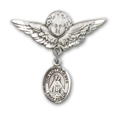 Pin Badge with Our Lady of Olives Charm and Angel with Larger Wings Badge Pin - Silver tone