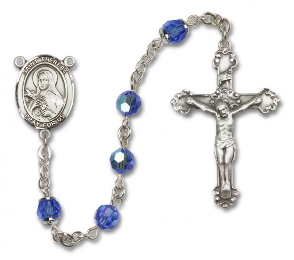 St. Theresa Sterling Silver Heirloom Rosary Fancy Crucifix - Sapphire
