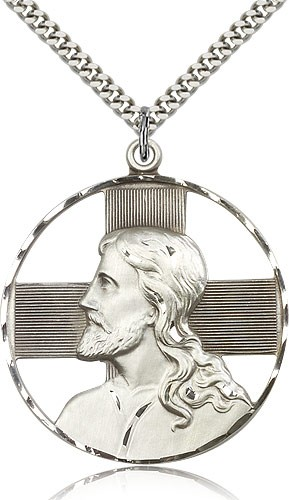 Large Christ Head Medal - Sterling Silver