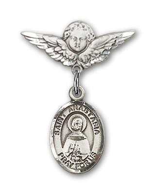 Pin Badge with St. Anastasia Charm and Angel with Smaller Wings Badge Pin - Silver tone