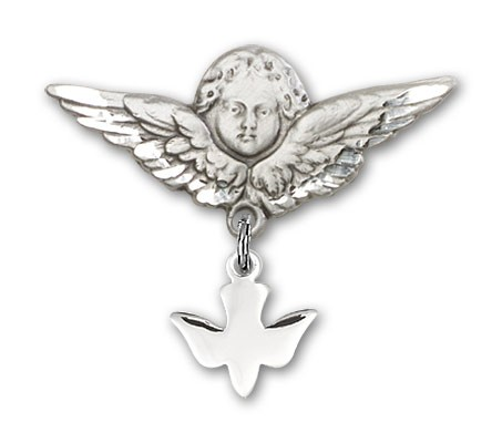 Baby Pin with Holy Spirit Charm and Angel with Larger Wings Badge Pin - Silver tone